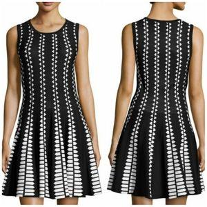 Line Diamond Print Black White Knit Pleated Dress
